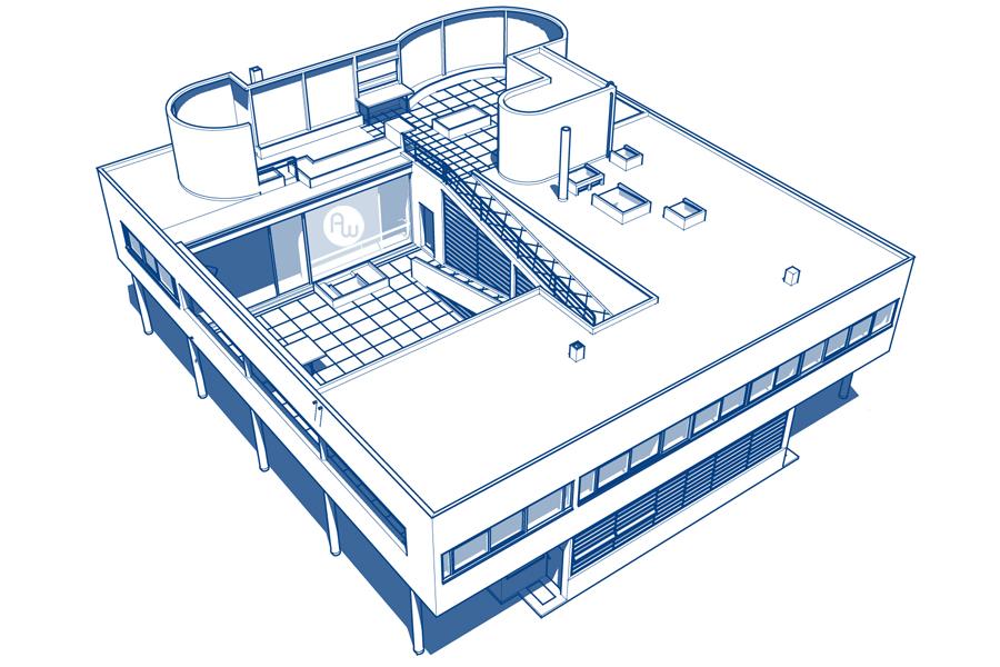 萨伏伊别墅 Villa Savoye Sketchup模型