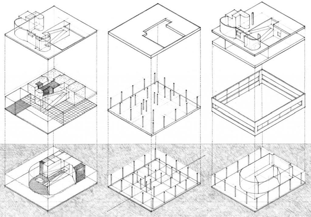 空间体系、结构体系、维护体系分析 图源:程大锦,建筑:形式空间和秩序