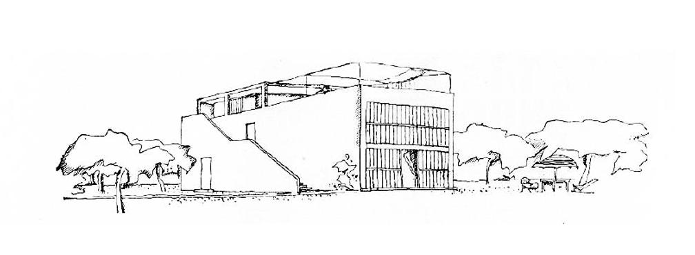 独立于方盒子直跑楼梯无疑成了雪铁龙住宅的可读点之一。与双跑楼梯相比,直跑楼梯的路径的终点更加不可预期,就像一个传送带或者火箭。直跑楼梯可以看作一个垂直方向弯折过的走道,是建筑漫步的重要道具。又是一个活跃的建筑物体,独立于方盒子,同时又暧昧地依附于主体之上。