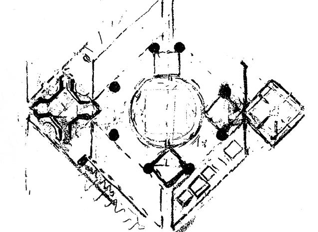 1963年的平面图,左边是花园入口,右边是祈祷大厅,中间是被办公室包围的集会大厅。