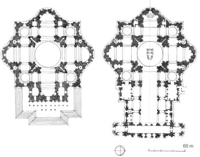 圣彼得大教堂米开朗琪罗方案(左)  卡洛·马德诺加建方案(右)