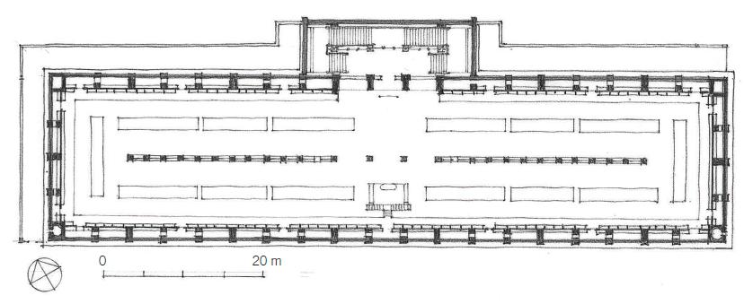 圣热内维也夫图书馆平面图 Plan: Bibliothèque Ste.-Geneviève  图源:A Global History of Architecture