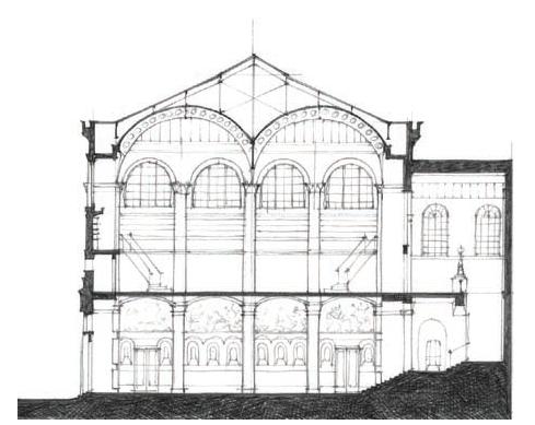 圣热内维也夫图书馆剖面图 Transverse section: Bibliothèque Ste.-Geneviève   图源:A Global History of Architecture