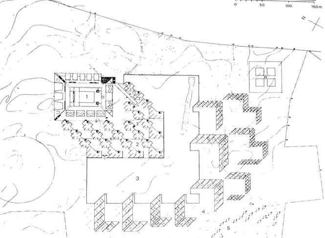 在1963年底提交的第三版总体布局中,学校和宿舍群顺时针转回45度,学校西端的主入口变成了一个圆形的庭院 在前两版中,学校围绕图书馆布置是其特点,而第三版学校的不同功能体围绕一个露天庭院布置。