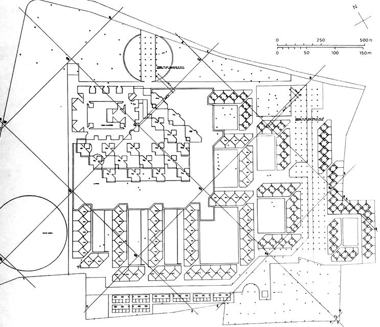 在第五版总体布局调整中,康增加了对角线网络,进一步调整宿舍区的布置。康发现这个斜线的系统有着特殊的优势,一方面可以满足任务书的苛刻要求,同时也把他的秩序感加入到多个部分的平面里,更重要的是,它可以很好地满足建筑争取西南穿堂风的朝向要求。此时,增加建筑物形成的阴影也成为方案调整的重要依据。