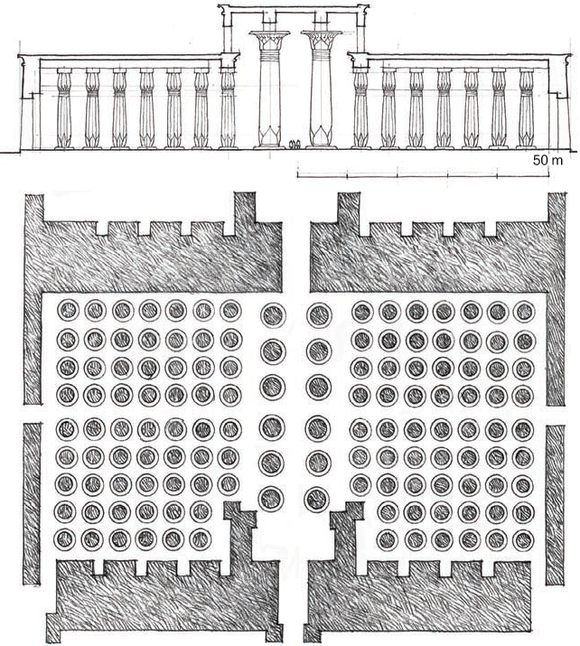 阿蒙神庙 多柱厅平面与剖面