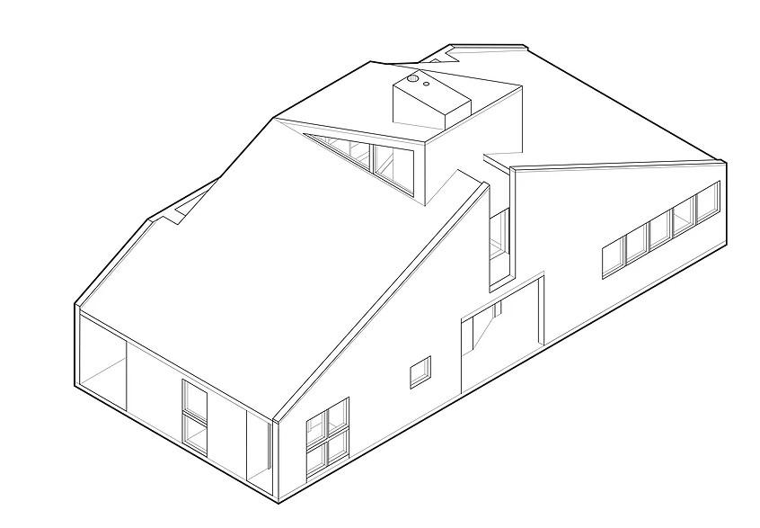 文丘里母亲住宅 抽象图 © Jacob Farmer