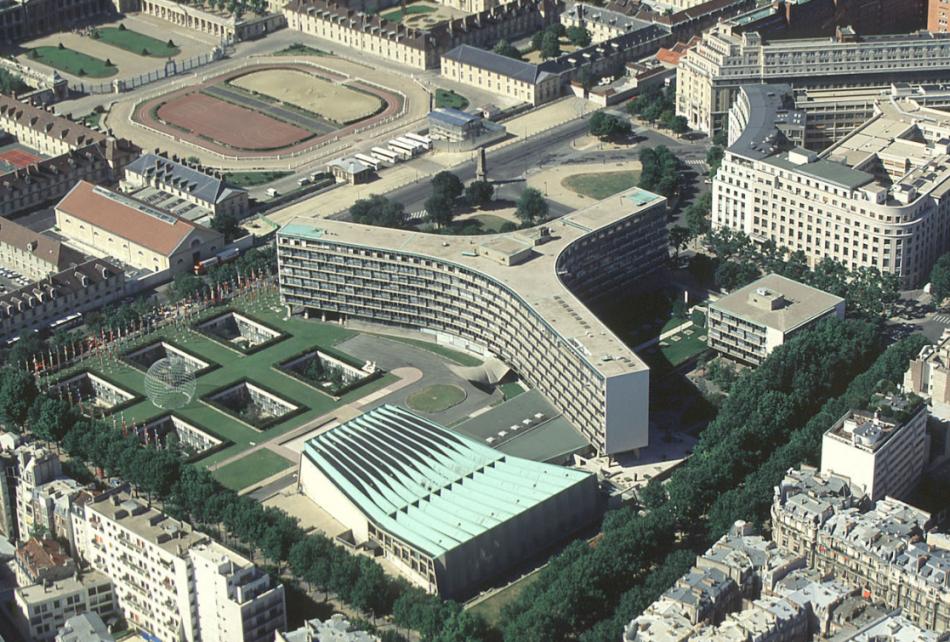 联合国教科文组织总部大楼 UNESCO Headquarters 鸟瞰图