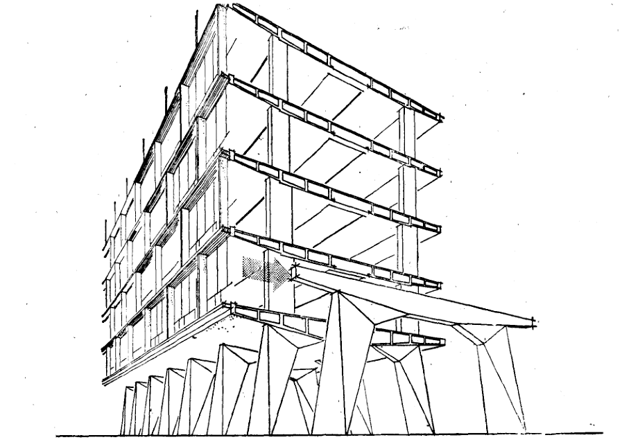 联合国教科文组织总部大楼结构透视图