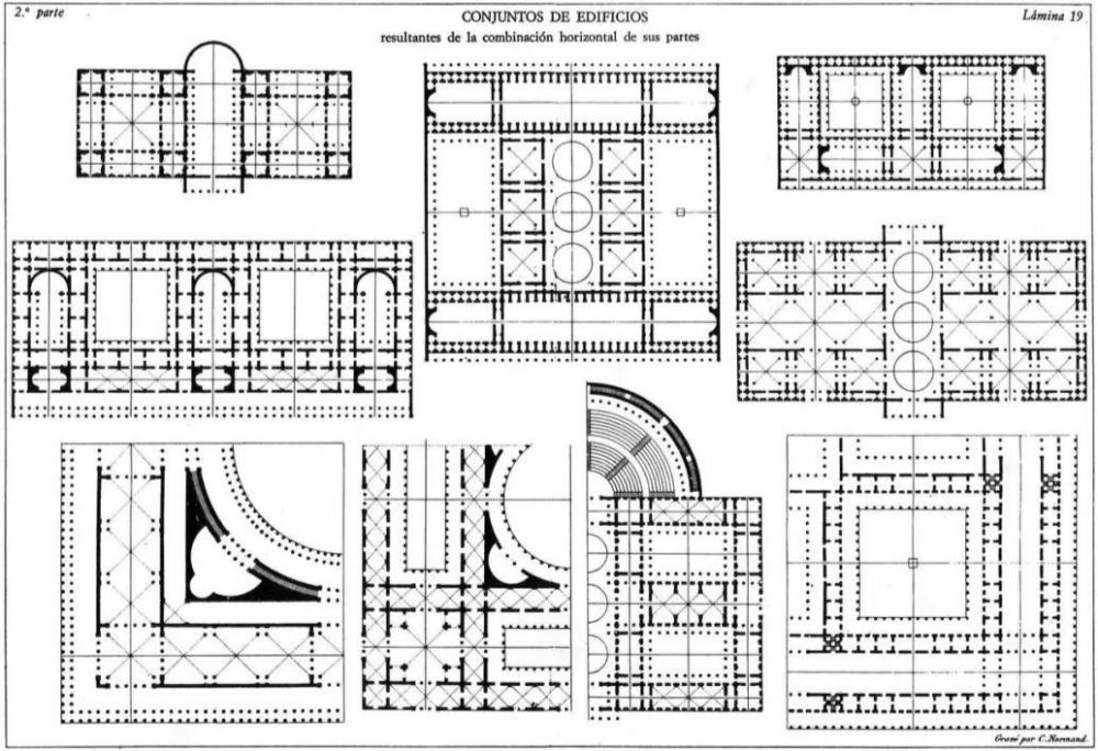 《建筑学课程概要》中的平面组合的建筑类型,1823年