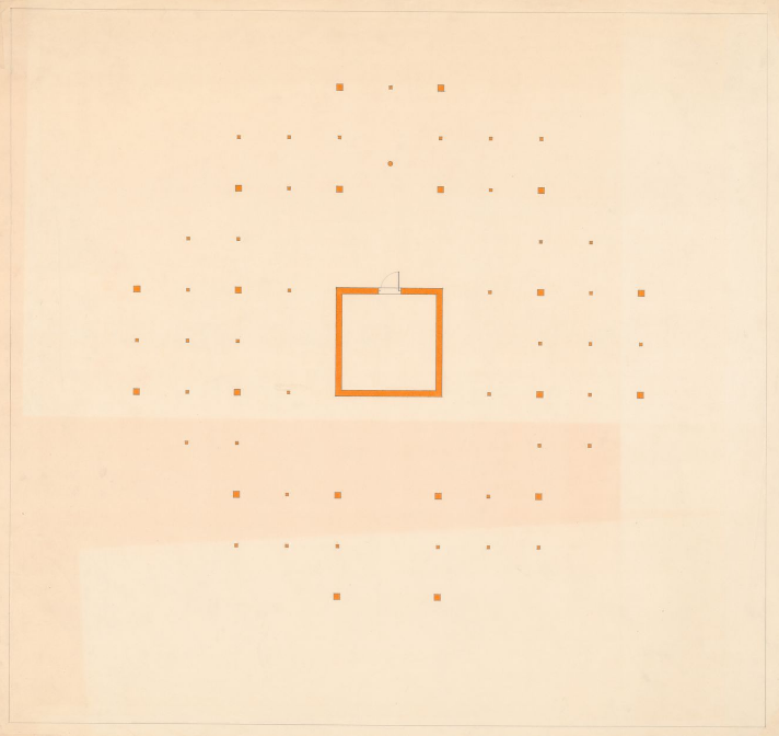 John Hejduk. Sketches with annotations for Texas Houses, 1954-1963.