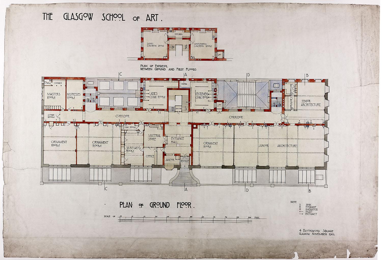1897年,他赢得了设计格拉斯哥新的美术学院的竞赛。该建筑的即将伫立之处是一个几乎无计可施的陡峭斜坡,似乎其主立面应该顺理成章地放在基地的最高处。功能包括几间工作室、一个讲堂、图书馆、校长的房间和私人工作室,以及展示作品和陈列永久收藏的石膏像的空间。
