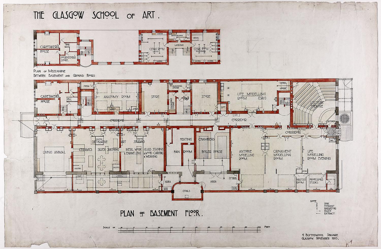 北面高侧置了两层工作室,朝向东面和西面则布置了更多的工作室、解剖学校、人体模特室、建筑学校、设计和构成室。院长的房间和工作室放在入口的上方,而博物馆放在方案后部的上层有天光的地方。